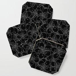 Cherry Blossom Black on White - In Memory of Mackenzie Coaster