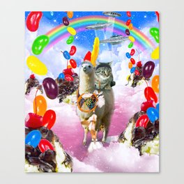 Cat Riding Llama With Sundae And Jelly Beans Canvas Print