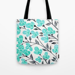 Cherry Blossoms – Turquoise & Black Palette Tote Bag