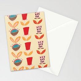 Mid- Century Modern Beige Flowers Pattern Stationery Cards