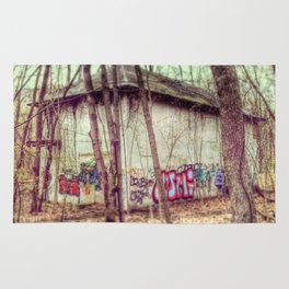 graffiti in the woods Rug