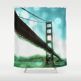 Green Bokeh Golden Gate Bridge in San Francisco Shower Curtain