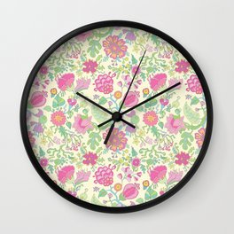 Pink and Peach Flowered curtains Wall Clock