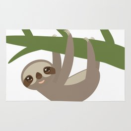 Three-toed sloth on green branch Rug