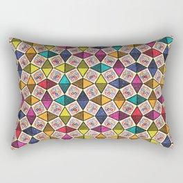 Colorful Kaleidoscopic Abstract Flower Pattern Rectangular Pillow