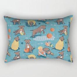 Memories of a Sweet Pit Bull Doggie Friend named Venice // blue linen texture background Rectangular Pillow