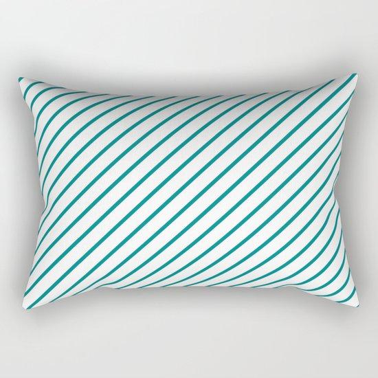 Diagonal Lines (Teal/White) Rectangular Pillow
