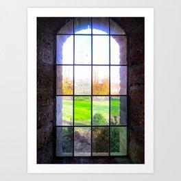 lanscape trough a church window Art Print