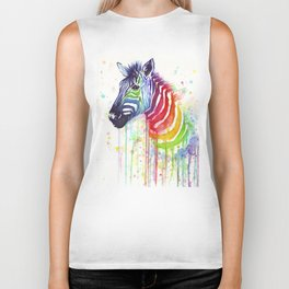 Zebra Watercolor Rainbow Animal Painting Ode to Fruit Stripes Biker Tank