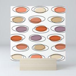 Mid Century Modern Ovals Scribbles Peach Mini Art Print