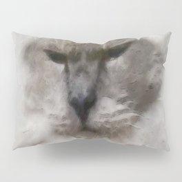 White Persian Cat In Watercolor Pillow Sham