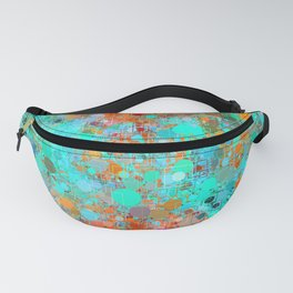 psychedelic geometric circle pattern and square pattern abstract in orange and blue Fanny Pack