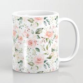 Sunny Floral Pastel Pink Watercolor Flower Pattern Coffee Mug