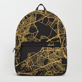 CASABLANCA MOROCCO GOLD ON BLACK CITY MAP Backpack