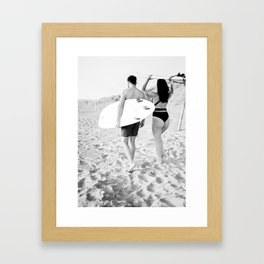 Coastal surf photography print | surfer couple in black and white | Wanderlust wall art Framed Art Print