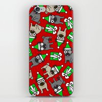 pugs iPhone & iPod Skins featuring Merry Pugs by robyriker