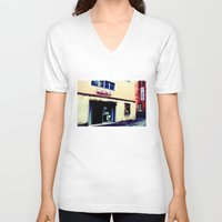cinema V-neck T-shirts featuring Cinema Roma by Red Bicycle - Amber Elen-Forbat