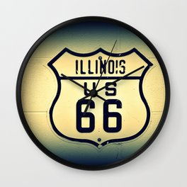 Historic U.S. old Route 66 sign in Illinois. Wall Clock