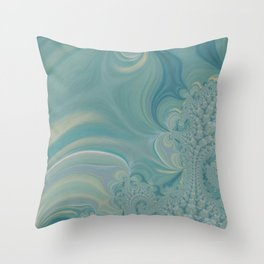 Soft Green Fractal 2 - Abstract Art by Fluid Nature Throw Pillow