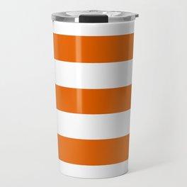 Spanish orange - solid color - white stripes pattern Travel Mug