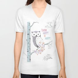 Think Happy Owl Unisex V-Neck