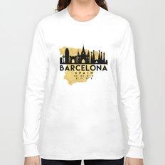 BARCELONA SPAIN SILHOUETTE SKYLINE MAP ART Long Sleeve T-shirt