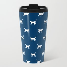 Cat silhouette cat lady cat lover navy and white minimal modern pet silhouette pattern Travel Mug