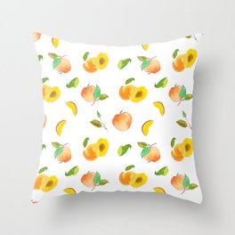 peach pattern / melocotones Throw Pillow