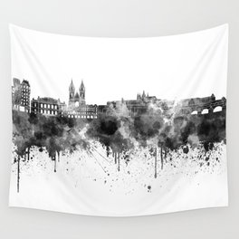 Prague skyline in black watercolor  Wall Tapestry