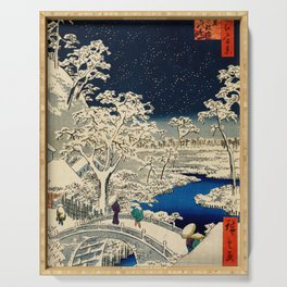 Ukiyo-e, Ando Hiroshige, Yuhi Hill and the Drum Bridge at Meguro Serving Tray