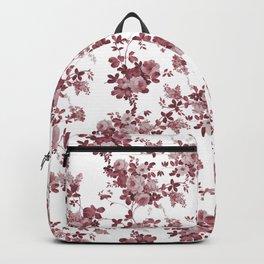 Elegant pastel pink marsala red roses floral pattern Backpack