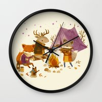 camping Wall Clocks featuring Critters: Fall Camping by Teagan White