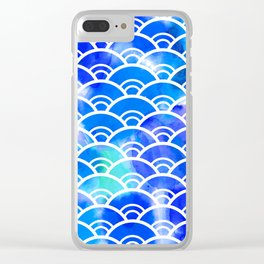 Seigaiha literally means wave of the sea. seamless pattern abstract scales simple Nature background Clear iPhone Case