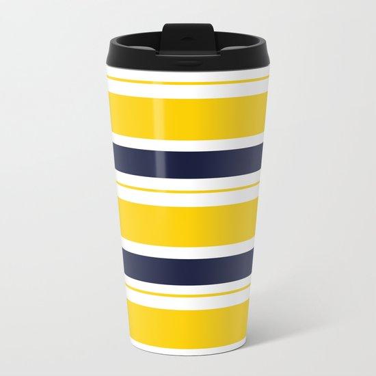 Yellow and Blue Horizontal Lines Stripes Metal Travel Mug