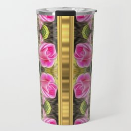 Pink roses with golden stripes pattern Travel Mug