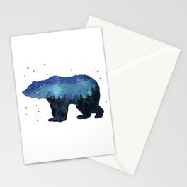 Forest Bear Silhouette Watercolor Galaxy Stationery Cards