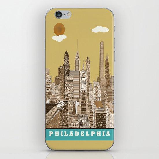 Philadelphia skyline vintage iPhone & iPod Skin