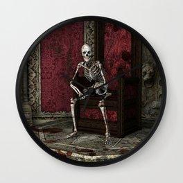 Gothic Waiting Skeleton Wall Clock