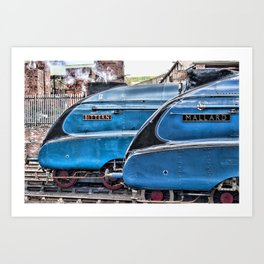 A4 Gresley Pacific Steam Locomotives on Shed Art Print