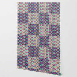 Colorful squares patchwork pattern Wallpaper
