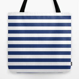 Horizontal Navy Stripes Pattern Tote Bag