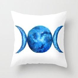 Triple Moon Goddess   Full Moon   Crescent Moon   Moon Phases Throw Pillow