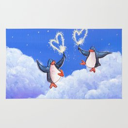 penguins spread love with sparklers Rug