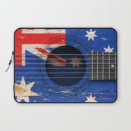 Old Vintage Acoustic Guitar with Australian Flag Laptop Sleeve
