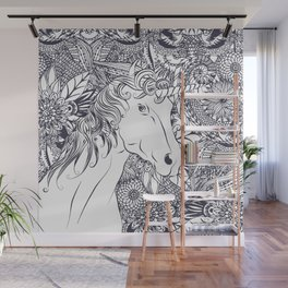 Whimsy unicorn and floral mandala design Wall Mural