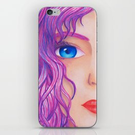 Violetta [Copic and Colored Pencil Semirealistic Portrait] iPhone Skin