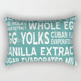 Cuban Flan Word Food Art Poster (Teal) Rectangular Pillow