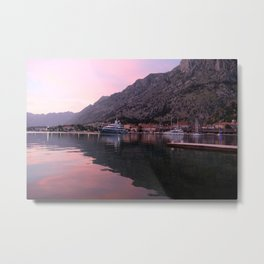 Sunset in Kotor, Montenegro Metal Print