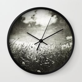Counting Flowers Like Stars - Black and White Wall Clock