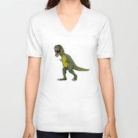 t rex V-neck T-shirts featuring T-Rex by Janusz Kali Kaliszczak